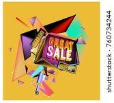 vector abstract 3d great sale... | Shutterstock .eps vector #760734244