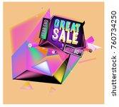 vector abstract 3d great sale... | Shutterstock .eps vector #760734250