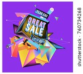 vector abstract 3d great sale... | Shutterstock .eps vector #760734268