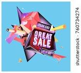 vector abstract 3d great sale... | Shutterstock .eps vector #760734274