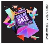 vector abstract 3d great sale... | Shutterstock .eps vector #760734280