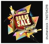 vector abstract 3d great sale... | Shutterstock .eps vector #760734298