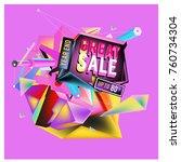 vector abstract 3d great sale... | Shutterstock .eps vector #760734304