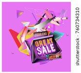vector abstract 3d great sale... | Shutterstock .eps vector #760734310