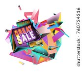 vector abstract 3d great sale... | Shutterstock .eps vector #760734316