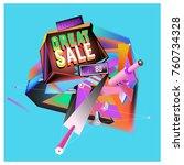 vector abstract 3d great sale... | Shutterstock .eps vector #760734328
