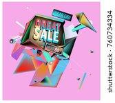 vector abstract 3d great sale... | Shutterstock .eps vector #760734334