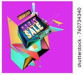 vector abstract 3d great sale... | Shutterstock .eps vector #760734340