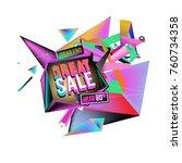 vector abstract 3d great sale... | Shutterstock .eps vector #760734358