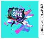 vector abstract 3d great sale... | Shutterstock .eps vector #760734364