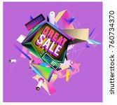 vector abstract 3d great sale... | Shutterstock .eps vector #760734370