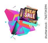 vector abstract 3d great sale... | Shutterstock .eps vector #760734394