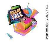 vector abstract 3d great sale... | Shutterstock .eps vector #760734418