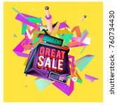 vector abstract 3d great sale... | Shutterstock .eps vector #760734430