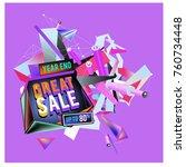 vector abstract 3d great sale... | Shutterstock .eps vector #760734448