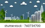 eco green city. environment... | Shutterstock .eps vector #760734700