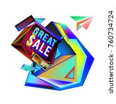 vector abstract 3d great sale... | Shutterstock .eps vector #760734724