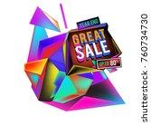 vector abstract 3d great sale... | Shutterstock .eps vector #760734730