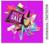 vector abstract 3d great sale... | Shutterstock .eps vector #760734748