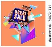 vector abstract 3d great sale... | Shutterstock .eps vector #760734814