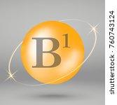 vitamin b1 gold icon. drop pill ... | Shutterstock .eps vector #760743124