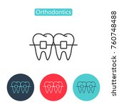 teeth with braces image... | Shutterstock .eps vector #760748488