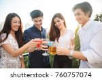 friends having party on the... | Shutterstock . vector #760757074