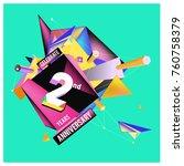 vector 2nd anniversary logo... | Shutterstock .eps vector #760758379