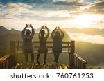 group happy tourists on top of... | Shutterstock . vector #760761253