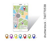 gps mobile navigations on...   Shutterstock .eps vector #760770538