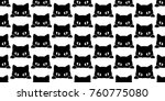 Stock vector black cat kitten vector seamless pattern wallpaper background doodle cartoon 760775080
