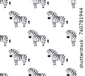 cartoon zebra seamless pattern... | Shutterstock .eps vector #760781944