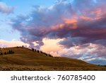 Sunset at Lamar Valley at Yellowstone  national Park, WY, USA