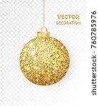 hanging christmas golden ball... | Shutterstock .eps vector #760785976