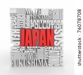 Tragedy in Japan.  Words on white isolated background. 3d - stock photo