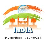 indian monument  red fort with... | Shutterstock .eps vector #760789264
