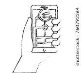 hand holding smartphone gps... | Shutterstock .eps vector #760792264