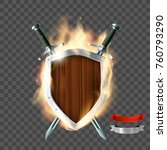 coat of arms  a wooden shield... | Shutterstock .eps vector #760793290