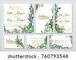 Wedding invitation frame set; flowers, leaves, watercolor, isolated on white. Sketched wreath, floral and herbs garland with green, greenery color. Handdrawn Vector Watercolour style, nature art. | Shutterstock vector #760793548