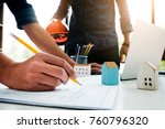 a young engineer is explaining... | Shutterstock . vector #760796320