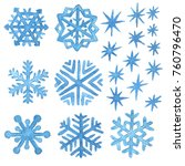 watercolor snowflakes and stars.... | Shutterstock . vector #760796470