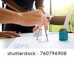 architect working on blueprint... | Shutterstock . vector #760796908