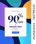 holiday sale banner  90  off... | Shutterstock .eps vector #760798120