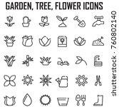 garden  tree  flower icons set... | Shutterstock .eps vector #760802140