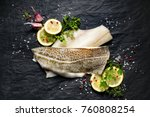 fresh fish   raw cod fillets... | Shutterstock . vector #760808254