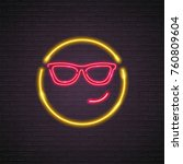 emoji smile symbol neon light... | Shutterstock .eps vector #760809604