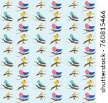 beautiful bird pattern | Shutterstock . vector #760815466