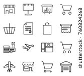 thin line icon set   shop ... | Shutterstock .eps vector #760824268