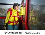 pretty  young female hiker... | Shutterstock . vector #760826188