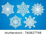 vector snowflake laser cut... | Shutterstock .eps vector #760827748